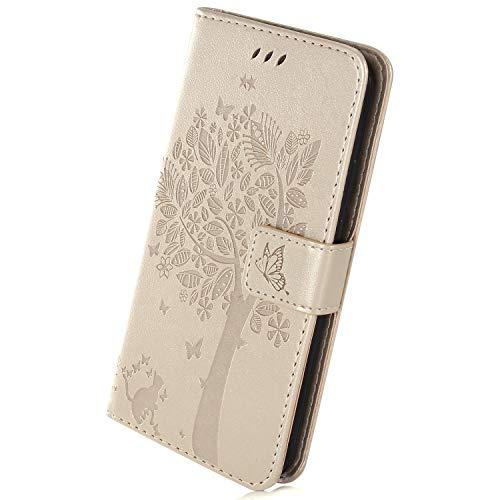 Herbests Kompatibel mit Sony Xperia XA3 Hülle Handyhülle Wallet Flip Case Cover Handy-Tasche Prägung Baum Katze Schmetterling Leder Hülle Tasche Schutzhülle Magnetisch Klapphülle, Gold