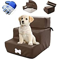 Raspbery 3 Step Stairs Dog Steps Dog Stairs For Small Dogs Detachable Leather Fabric, Easy To Clean, Three-layer And Two-layer Free Switching Comes With Gloves For Grooming Pet Hair