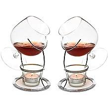 CKB Ltd® SET OF 2 Brandy & Cognac Snifter WARMER Glasses Brandy Gläser Cognacgläser & Schwenker Brandy-Glas Stand Gift Set Wärm-Ständer, Teelicht & Teelichthalter
