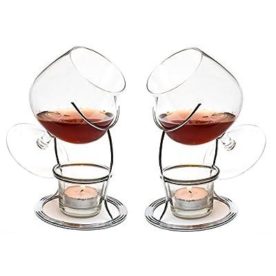 Ckb Ltd Set Of 2 Brandy Cognac Snifter Warmer Glasses Brandy Glser Cognacglser Schwenker Brandy Glas Stand Gift Set Wrm Stnder Teelicht Teelichthalter
