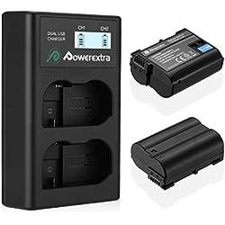 Powerextra Chargeur Double Nikon EN-EL15 2200mAH et Chargeur pour Nikon D7200 D7100 D7000 D810 D800 D750 D610 D600 V1 Cameras
