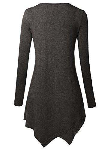 DJT Damen Langarmshirt V-Neck Knopfleiste Asymmetrisch Saum T-Shirt Longshirt Anthrazit