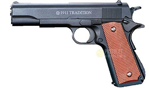 Plan beta Saigo Airsoft-Pistolet à Billes 1911 Tradition Noir à Ressort, matière:métal-Rechargement Manuel-Puissance: 0,5 Joule