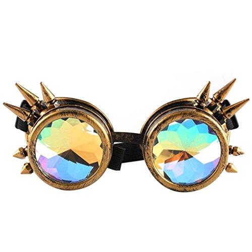 Btruely Herren_Gafas de Sol Kaleidoscope Gafas Mujeres y Hombres Gafas de caleidoscopio Rave Festival Party Lentes de Sol EDM Diffracted Lens Gafas Retro Vintage de Verano Protección Gafas (C)