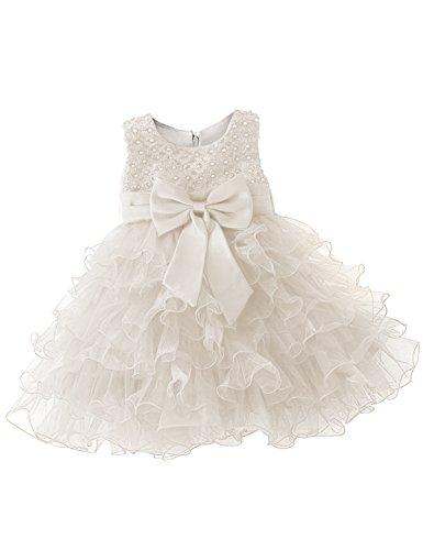 NNJXD Mädchen Party Pailletten Prinzessin 6 Multi Layer Tutu Tüll Kleid Größe(80) 7-12 Monate Weiß (Ideen Kleider 80)