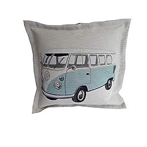 Bullikissen VW Bus Volkswagen retro Bulli Camping hellblau Kissen Zierkissen ca. 40x40cm