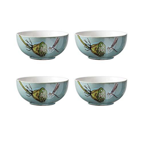 Nudelschalen Salat/Pasta/Müsli/Snack/Ramen Suppenschüssel, Vögel und Blumen Muster Geschirr 4 Stück Set (Color : B) (Muster, Vogel Geschirr)