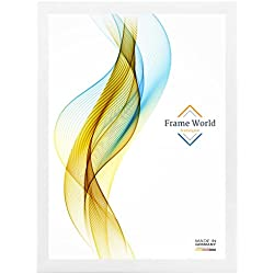 FW35 Bilderrahmen für 60 cm x 137 cm Bilder, Farbe: Weiß-matt, MDF-Holz Rahmen nach Maß mit entspiegeltem Acrylglas und HDF Rückwand, innen Weiß lackiert, Rahmen Breite: 35mm, Aussenmaß: 65,6 cm x 142,6 cm