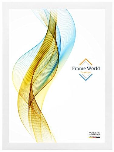 Frame World Cadre Photo FW35 pour 80 cm x 120 cm Photos, Couleur: Blanc, avec Verre Acrylique antireflet, Profil de Largeur 35mm, Dimensions extérieures: 85,6 cm x 125,6 cm