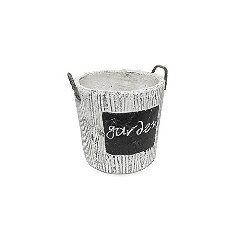 Pot de fleur céramique serie Rustic de POLNIX imitation beton hauteur 12 cm forme rond diametre 13