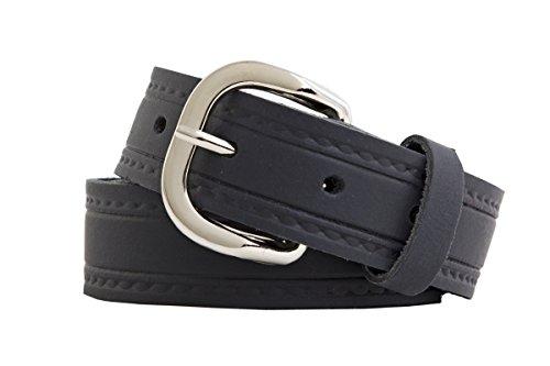 Echtledergürtel Ledergürtel 3cm Breite Deutsche Qualität BW 90cm bis 150cm Überlänge Sondergröße Gürtel Leder Herren Damen Farben Muster Motive Belt Buckle Leather Belt Real Leather Genuine (95cm, schwarz seitenprägung)