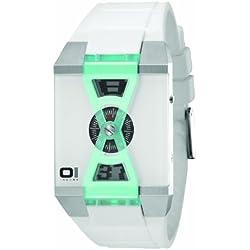 01TheOne AN09G06 White Steel Bracelet & Case Mineral Men's Watch