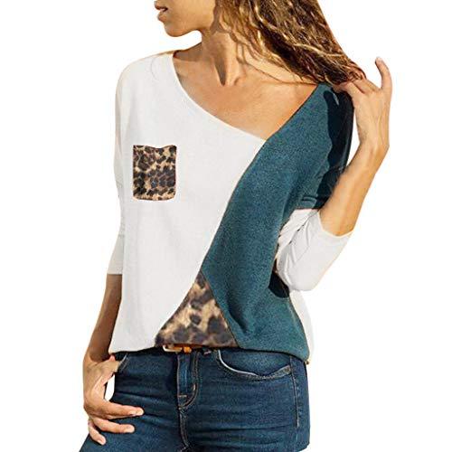 Lazzboy Damen Casual Patchwork Farbblock Kurzarm T-Shirt Sommer Mode Asymmetrischer V-Ausschnitt Oberteile(Weiß-A,S)