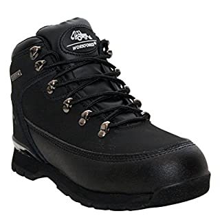 A&H Footwear Mens Steel Toe Cap Genuine Leather Lace Up Protective Shock Absorb Industrial Safety Ankle Boots Shoes UK Sizes 6-12 (UK 10, Black/Black)