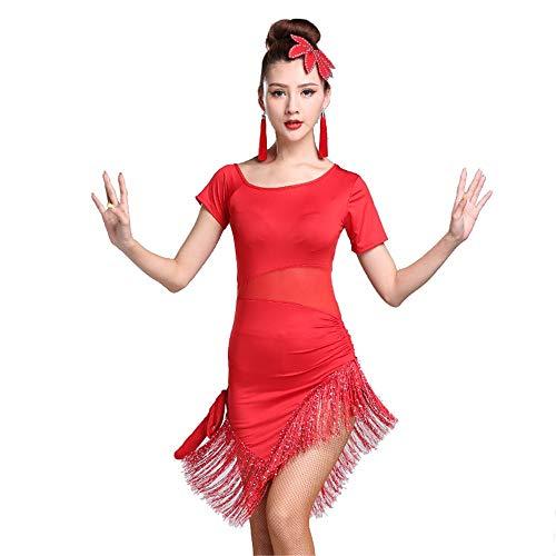LLLingc Latin Dancewear Kurzarm Split Leg Pailletten Quaste Flapper Dress Dance Sport Kostüme Kleider Leicht zu Tragen und zu Waschen (Farbe : Rot, Größe : - Pailletten Red Flapper Kostüm