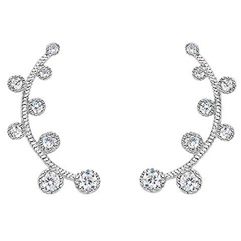 EVER FAITH® 925 Sterling Silber Cubic Zirkonia Fashion Round Post Ear Cuff Stud Ohrringe N07454-1