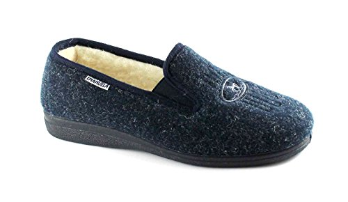 EMANUELA 580 blau Stretch-Wolle Pantoffeln Mann Blu
