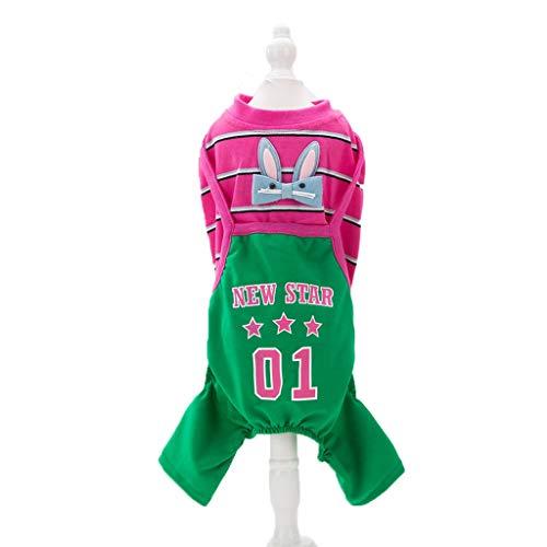 QLMS Haustier vierbeinige Kleidung Hundekleidung Teddybär Xiong Bomei Welpen Riemen kleine Hundewelpen Sommer tragen atmungsaktive dünne Abschnitt (Color : Pink, Size : XL) -