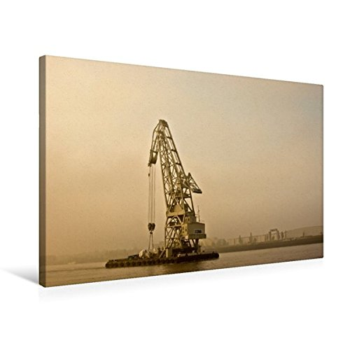 Premium Textil-Leinwand 75 cm x 50 cm quer, Schwimmkran im Morgendunst. | Wandbild, Bild auf Keilrahmen, Fertigbild auf echter Leinwand, Leinwanddruck (CALVENDO Mobilitaet)