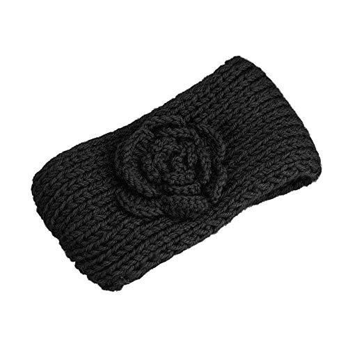 NINGSANJIN Frauen Stricken Stirnband handgemacht halten Sie warmes Haarband,Schwarz -