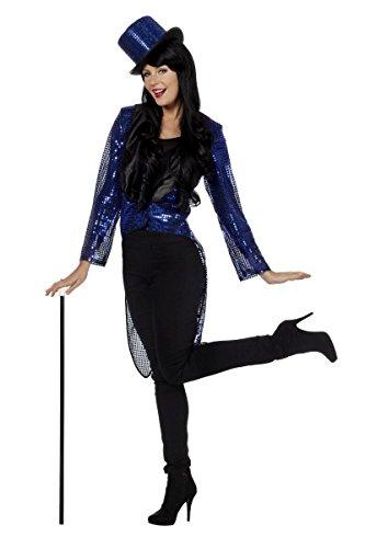 Kostüm Frack Blauer - Damen Kostüm Pailletten Frack blau Karneval Fasching Show Gr.44