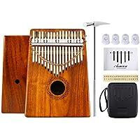 Thumb Piano 17 Tasti Kalimba 12 Accessori Contiene Songbook Tuning Hammer Thumb Picks e altro per Mbira Sanza Thumb Instrument (Solid KOA Wood)