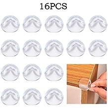 CosyVie 16pcs Protezione di Angolo Protezione di Coin o bordo di tavolo mobili in silicone morbida e transparante per protezione sicurezza del bambino Bambino, 16PCS/Paquet
