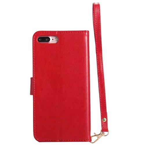 Hülle für iPhone 7 plus , Schutzhülle Für IPhone 7 Plus Horrizontal Folio Stand PU Leder + TPU Fall, Geldbörse Geldbörse Abdeckung Fall mit Lumious Shining Effect & Lanyard ,hülle für iPhone 7 plus ,  Red
