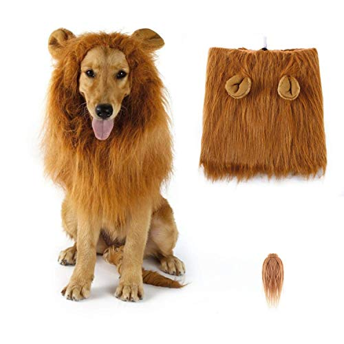 SUNREEK Dog Lion Mane, Lion Mane Wig Costumes for Medium to Large Sized Dog with Ears & Tail, Fancy Lion Hair for Halloween Costume Holiday Photo Shoots Party Festival Occasion (Halloween Lion Ohren)