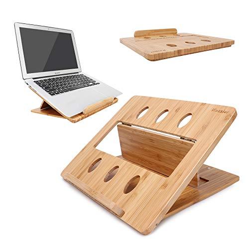 iCozzier Bambus Faltbarer Laptopständer Einstellbare Notebook Tablet Schreibtisch-Wärmeableitungshalterung für Macbook, Netbook, Ultrabook -