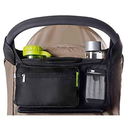 Deluxe Organizer Kurze Tasche (AUVSTAR Baby-Kinderwagentasche, beste Kinderwagen-Organizer für Smart Mütter, Premium tiefe Becherhalter, extra großer Stauraum für iPhone, Geldbeutel, Windeln, Bücher, Spielzeug, iPad)