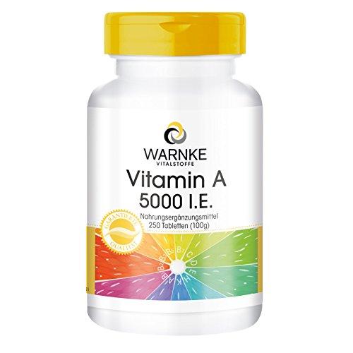 Vitamina A 5000 U.I. - Acetato de Retinol - Vegana - 250 comprimidos