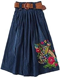 08c22f4f516d FuweiEncore Damen Denim Rock Faltenrock Frauen Hohe Taille Mid-Rock Swing  Jeansrock Blumen Sticken Maxirock