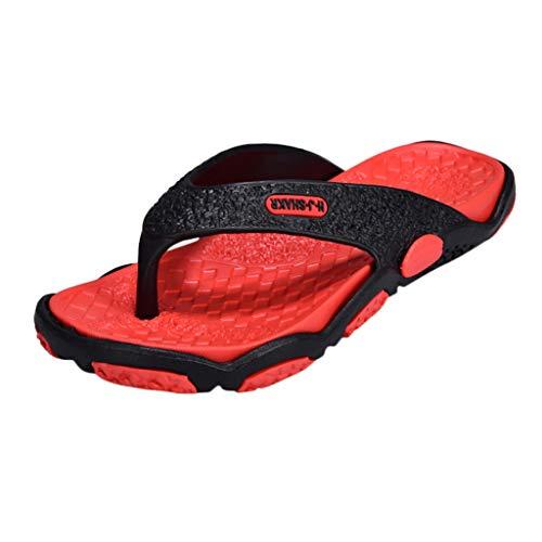 Dorical Pantoletten Unisex-Erwachsene Sandalen Flip Pantoffeln Hausschuhe Sandale Flandell Outdoor Sommer Sandaletten Dusch Strandschuhe Slipper Rutschfest Badesandalen Schuhe(Rot,45 EU)