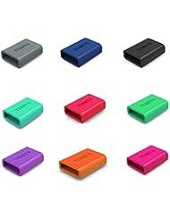 9-PACK TUSITA Silikon Fastener Ring für Fitbit Alta, Fitbit Flex, Garmin Vivosmart Vivofit 3, Misfit, Amiigo, Striiv, JAWBONE UP2, UP3, UP Move (Thick-Armband) Schleifen Keeper Verschluss