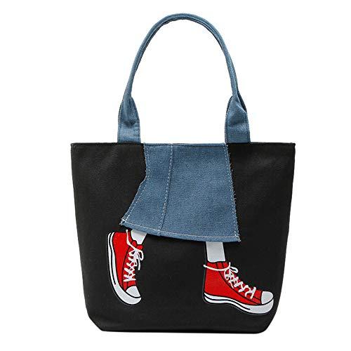 VJGOAL Damen Handtasche, Damen Mädchen Handtasche Reißverschluss Patchwork Cowboy Segeltuch Umhängetasche Messenger Tasche