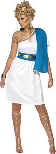 Womens Kleid Toga (Römische Schönheit Kostüm mit Kleid Toga Gürtel und Kopfschmuck,)