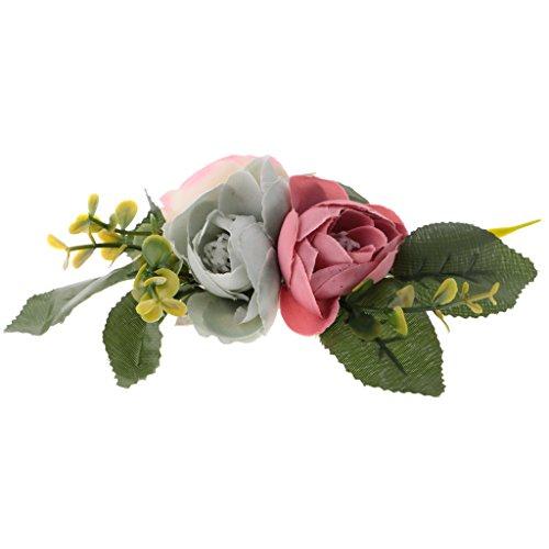 sharplace Künstliche Stoff Colorful Roses 3Köpfe Flower Seide Haarband DIY Zubehör Hochzeit Party Stroh Hut Frauen Floral Kleider Aufnäher Craft (Handwerk Stroh-hüte Für)
