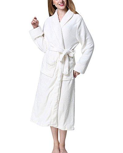 Albornoz con Cuello Chal para Mujer y Hombre Talla Grande Bata Pijama Túnica Ropa de Dormir Robe Blanco XL