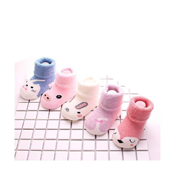 Sweetneed 5 Pares Calcetines Recien Nacido niño Calcetines de recién nacido Calcetines bebe niña Invierno 0-36 Meses 3