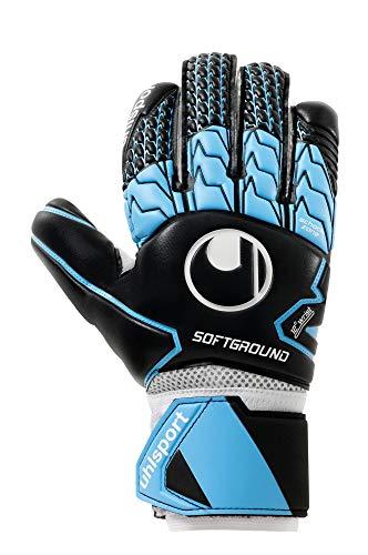 uhlsport Unisex- Erwachsene Soft HN COMP Torwarthandschuhe, Fußballhandschuhe, schwarz/skyblau/weiß, 8.5