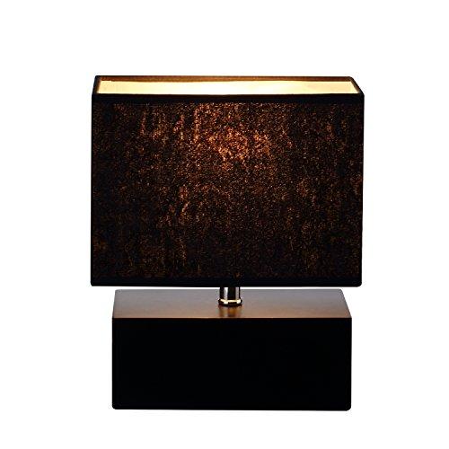 Holz Tischlampe, Nachttischlampe mit Rechteckigem Holzfuß, Sanftem Licht, Tischleu...