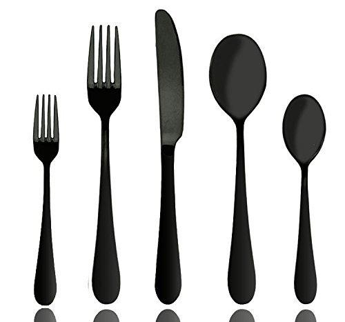 Schwarz Besteck Set, Aoosy 20-teilig 18/10 Edelstahl Messer, Gabel und Löffel Set(Mattschwarz, 4 Personen)