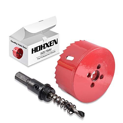 HOHXEN M42 HSS Bimetall 75mm Lochsäge Rot, Lochschneider für Holz Aluminium Eisenblech Rohr Kunststoff
