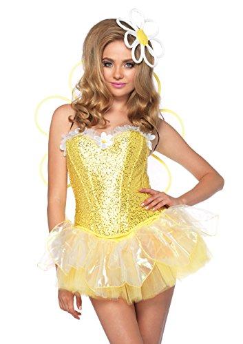 Leg Belle Avenue Kostüm - Leg Avenue 85113 - Daisy Doll Blumenkostüm, Größe L, gelb