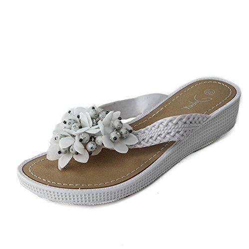 Damen Sandalen Zehentrenner Sandaletten Badeschuhe Blume JU5 Weiß