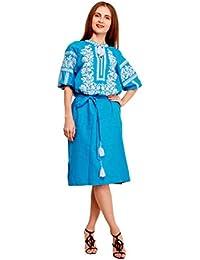 Bordado Vestido Largo Azul para Mujer. vyshyvanka. Ucrania bordar vestido
