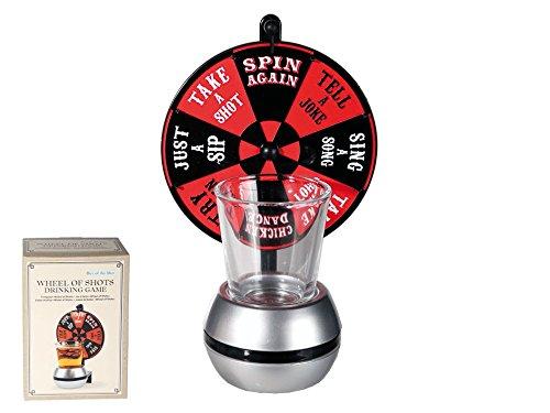 Trinkspiel Wheel of Shots, mit Shooter-Glas & Basis mit Glücksrad, für ca. 60 ml, ca. 16 cm