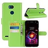 HualuBro LG X Power 3 Hülle, Premium PU Leder Leather Wallet HandyHülle Tasche Schutzhülle Flip Case Cover mit Karten Slot für LG X Power3 Smartphone (Grün)