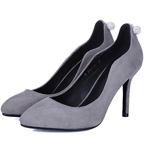 TAOFFEN Damen Klassischer Stiletto Pumps High Heel Schuhe Grau